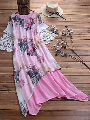 cheap Evening Dresses-Women's Shift Dress Midi Dress - Short Sleeves Floral Patchwork Print Summer Casual Daily 2020 Blushing Pink Green M L XL XXL XXXL XXXXL XXXXXL