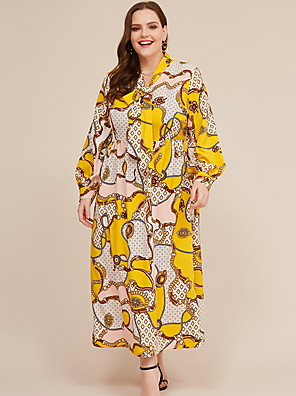 cheap Plus Size Dresses-Women's Shift Dress Maxi long Dress - Long Sleeve Color Block Summer Elegant 2020 Yellow XL XXL XXXL XXXXL XXXXXL