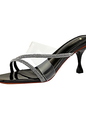 cheap Plus Size Dresses-Women's Sandals / Clogs & Mules Clear / Transparent / PVC 2020 Spring / Summer Stiletto Heel Open Toe Sexy Party & Evening Rhinestone Solid Colored PU Almond / Black / Silver