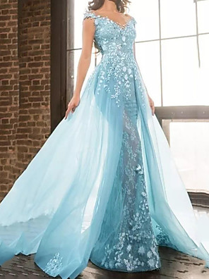 cheap Prom Dresses-Mermaid / Trumpet Floral Luxurious Engagement Formal Evening Dress V Neck Short Sleeve Floor Length Tulle with Appliques 2020