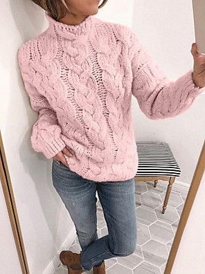 cheap Women's Blouses & Shirts-Women's Solid Colored Pullover Long Sleeve Sweater Cardigans Turtleneck Yellow Blushing Pink Beige