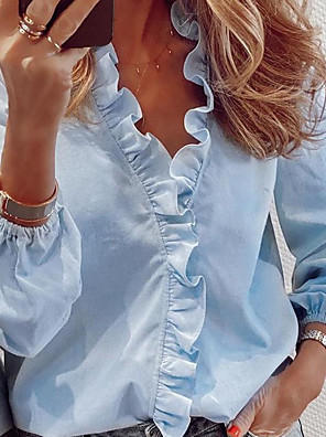 cheap Women's Blouses & Shirts-Women's Shirt Solid Colored Long Sleeve Loose Tops V Neck White Blue Orange
