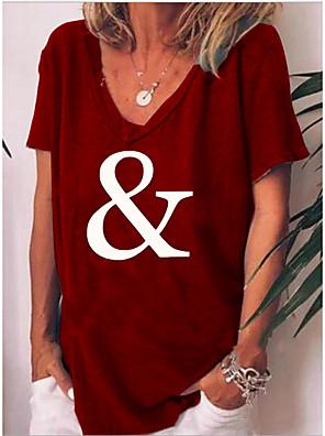 cheap Women's Blouses & Shirts-Women's T-shirt Floral V Neck Tops Cotton Wine Black Blue