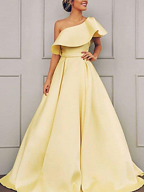 cheap Evening Dresses-A-Line Elegant Minimalist Engagement Formal Evening Dress One Shoulder Short Sleeve Sweep / Brush Train Satin with Ruffles 2020