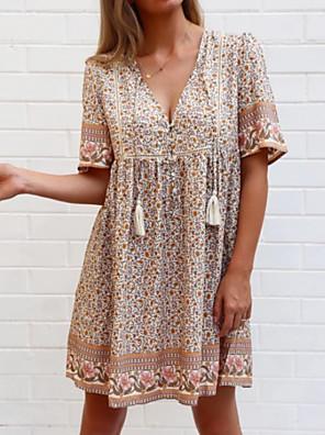 cheap For Young Women-Women's A-Line Dress Knee Length Dress - Half Sleeve Floral Summer Casual 2020 Camel S M L XL XXL XXXL