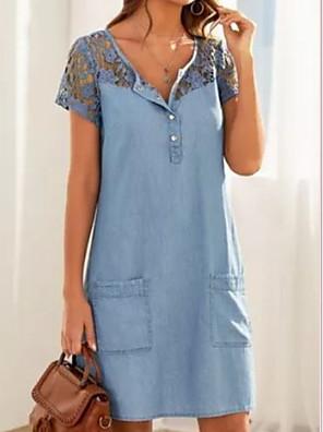 cheap Maxi Dresses-Women's Denim Dress Knee Length Dress - Short Sleeves Lace Pocket Summer V Neck Work 2020 Light Blue S M L XL XXL