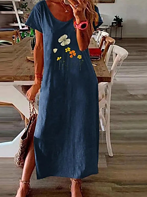 cheap Maxi Dresses-Women's A-Line Dress Midi Dress - Short Sleeves Floral Summer Casual 2020 Blue Green Navy Blue S M L XL XXL XXXL