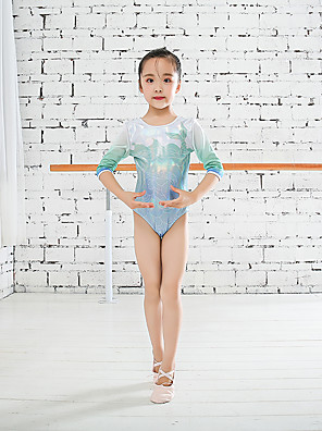 cheap Gymnastics-Rhythmic Gymnastics Leotards Gymnastics Leotards Girls' Kids Dancewear Stretchy Handmade Half Sleeve Competition Dance Rhythmic Gymnastics Athletic Artistic Gymnastics Green