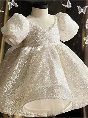 cheap Christening Gowns-Princess / Ball Gown Knee Length Wedding / Party Flower Girl Dresses - Tulle Sleeveless V Neck with Bow(s) / Paillette