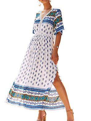 cheap For Young Women-Women's A-Line Dress Maxi long Dress - Short Sleeves Print Fall Casual Boho 2020 White Yellow S M L XL