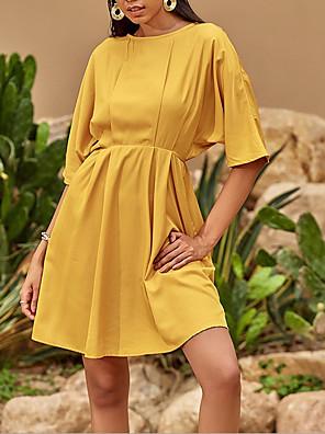 preiswerte Für Junge Frauen-Damen A-Linie Kleid Minikleid - Halbe Ärmel Volltonfarbe Sommer Büro Freizeit 2020 Gelb S M L XL