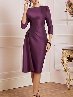 cheap Evening Dresses-Sheath / Column Mother of the Bride Dress Elegant Off Shoulder Knee Length Satin 3/4 Length Sleeve with Ruching 2020