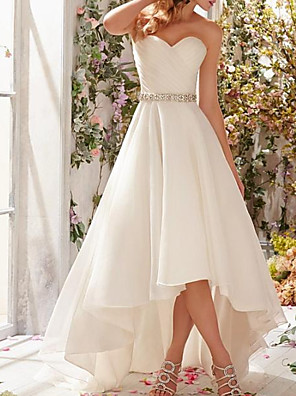 cheap Prom Dresses-A-Line Wedding Dresses Strapless Sweep / Brush Train Asymmetrical Organza Sleeveless Simple Vintage 1950s with Sashes / Ribbons Ruched Beading 2020