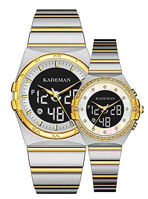 cheap Quartz Watches-Unisex Steel Band Watches Quartz Casual Water Resistant / Waterproof Stainless Steel Analog - Digital - White+Golden Black Blue / Calendar / date / day