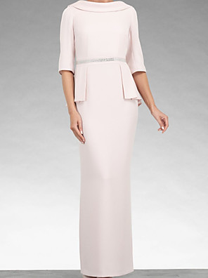 cheap Evening Dresses-Sheath / Column Mother of the Bride Dress Elegant Cowl Neck Floor Length Stretch Satin Half Sleeve with Beading 2020