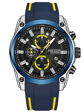 cheap Sport Watches-MEGIR Men's Sport Watch Quartz Stylish Fashion Water Resistant / Waterproof Silicone Black / Blue Analog - Black+Gloden Black Blue One Year Battery Life / Calendar / date / day / Chronograph