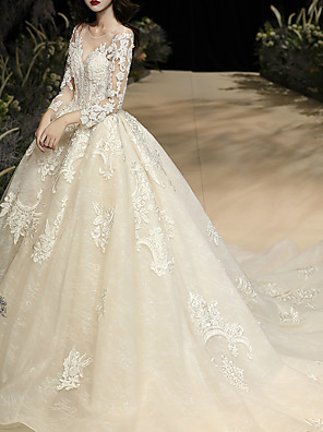 cheap Wedding Dresses-Ball Gown Wedding Dresses Jewel Neck Watteau Train Lace Tulle Long Sleeve Glamorous See-Through with Embroidery 2020