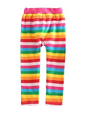 billige Bukser og leggings til piger-Børn Baby Pige Basale Rød Stribet Regnbue Blondér Leggings Regnbue
