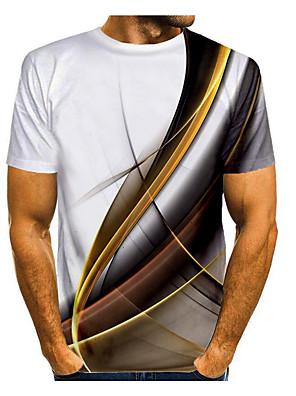 cheap Men's Tees & Tank Tops-Men's Galaxy Graphic Space Print T-shirt Basic Daily Round Neck White / Purple / Yellow / Blue / Gray / Short Sleeve