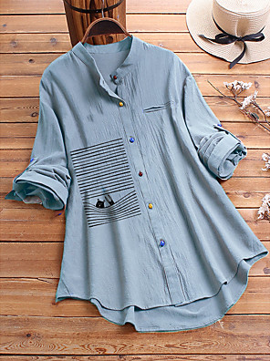 cheap Women's Blouses & Shirts-Women's Plus Size Blouse Cartoon Standing Collar Tops Loose Spring Fall Green Light Blue