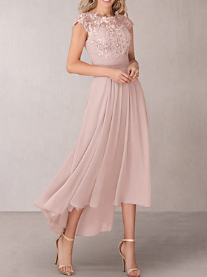 cheap Mother of the Bride Dresses-A-Line Mother of the Bride Dress Elegant Jewel Neck Asymmetrical Chiffon Lace Short Sleeve with Pleats Appliques 2020