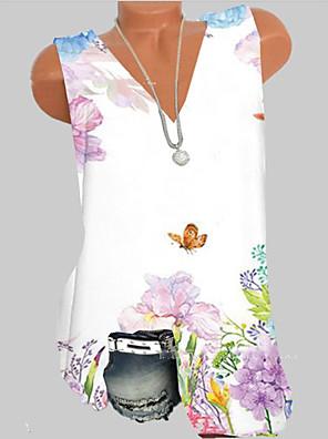 cheap Print Dresses-Women's Tank Top Geometric V Neck Tops Summer White