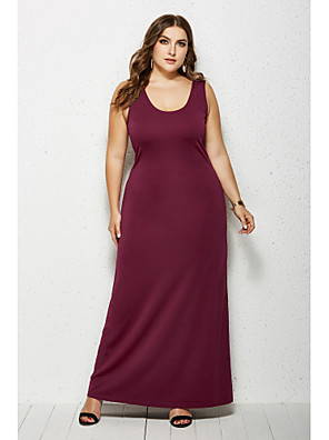 cheap Plus Size Dresses-Women's Sheath Dress Maxi long Dress - Sleeveless Solid Color Summer Casual Daily 2020 Wine White Black Yellow Green Navy Blue XXL XXXL XXXXL XXXXXL