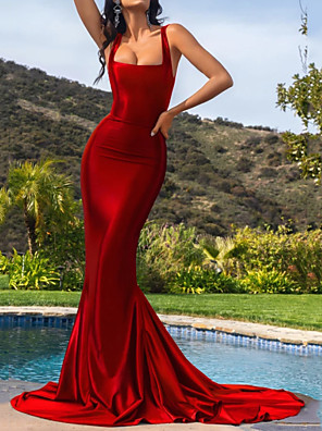 cheap Evening Dresses-Mermaid / Trumpet Elegant Beautiful Back Engagement Formal Evening Dress Scoop Neck Sleeveless Court Train Stretch Satin with Sleek 2020