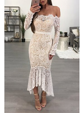 cheap Homecoming Dresses-Women's Trumpet / Mermaid Dress Maxi long Dress - Long Sleeve Floral Lace Spring Summer Off Shoulder Sexy Party Club Slim 2020 White S M L XL