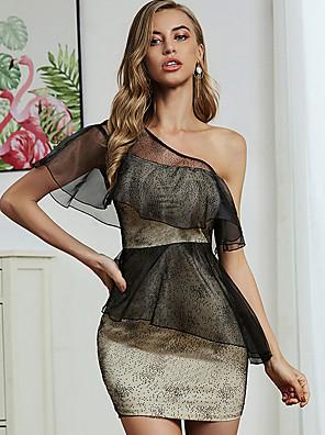 cheap Mini Dresses-Women's Shift Dress Short Mini Dress - Sleeveless Print Ruffle Patchwork Summer Elegant Sexy Holiday Weekend 2020 Black S M L