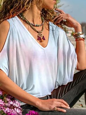 Недорогие Женские футболки-Жен. Футболка Узоры тай-дай V-образный вырез Верхушки Лето Белый Синий Лиловый