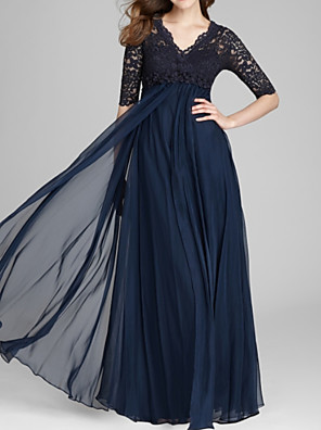 cheap Evening Dresses-A-Line Mother of the Bride Dress Elegant V Neck Floor Length Chiffon Lace Half Sleeve with Pleats Appliques 2020