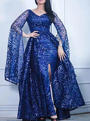 cheap Evening Dresses-A-Line Elegant Sparkle Wedding Guest Formal Evening Dress V Neck Long Sleeve Floor Length Lace Sequined with Sequin Split 2020