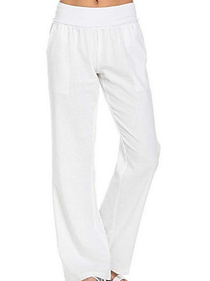 cheap Women's Pants-Women's Basic Daily Loose Chinos Pants - Solid Colored White Black Blue S / M / L