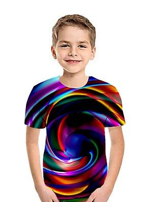 cheap Boys' Tops-Kids Boys' Street chic Rainbow Short Sleeve Tee White
