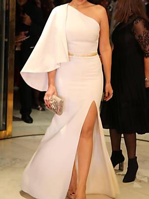 cheap Prom Dresses-Sheath / Column Elegant Minimalist Engagement Prom Dress One Shoulder Long Sleeve Floor Length Satin with Split 2020