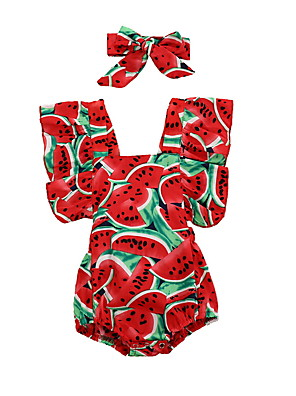 cheap Baby Girls' One-Piece-Baby Boys' Basic Print Short Sleeves Romper Red