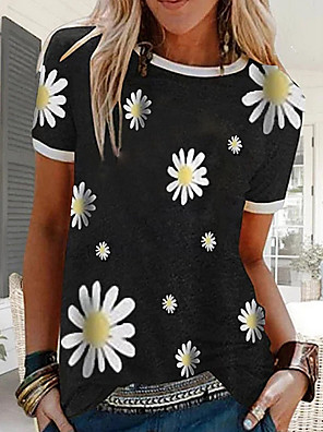 cheap Women's T-shirts-Women's Floral Graphic Prints Daisy T-shirt Daily Black / Blue / Red / Green / Gray