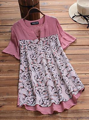 cheap Women's Blouses & Shirts-Women's Blouse Animal Print V Neck Tops Loose Basic Summer Blushing Pink Green