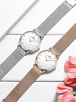 cheap Quartz Watches-Women's Steel Band Watches Quartz Minimalist Water Resistant / Waterproof Stainless Steel Analog - Rose Gold White+Silver Black One Year Battery Life / Japanese / Japanese