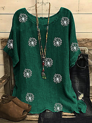 cheap Women's T-shirts-Women's Plus Size T-shirt Holiday Sunflower Boho Print Loose Tops Boho Wine Black Green