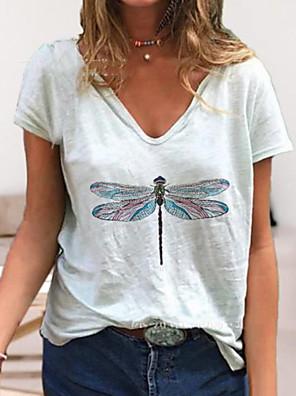 cheap Women's Pants-Women's T-shirt Graphic V Neck Tops Loose Cotton Summer White