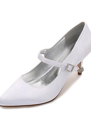 cheap Women's T-shirts-Women's Wedding Shoes Spring / Summer Stiletto Heel Pointed Toe Sweet British Wedding Rhinestone Solid Colored Satin White / Black / Purple