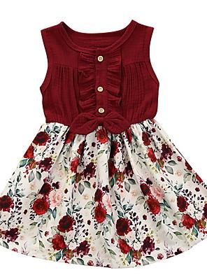 cheap Baby Girls' One-Piece-Baby Girls' Basic Floral Sleeveless Dress Wine