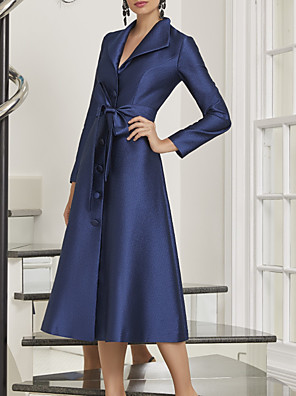 cheap Evening Dresses-A-Line Mother of the Bride Dress Elegant Shirt Collar Ankle Length Chiffon Long Sleeve with Sash / Ribbon 2020