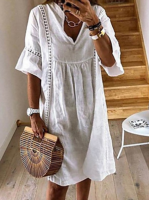 cheap Maxi Dresses-Women's Shift Dress Knee Length Dress - Half Sleeve Summer V Neck Casual Loose 2020 White Yellow Green Dusty Blue Light Blue S M L XL XXL XXXL XXXXL