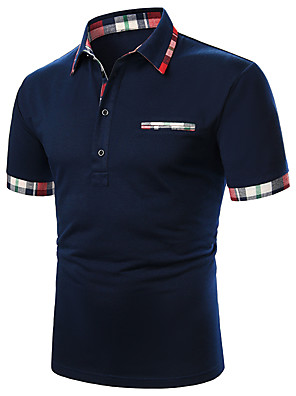baratos Pólos Masculinas-Homens Polo Sólido Patchwork Blusas Básico Branco Azul Marinha / Manga Curta