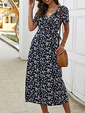 cheap For Young Women-Women's Wrap Dress Midi Dress - Short Sleeves Floral Print Summer V Neck Holiday 2020 Red Royal Blue Light Green S M L XL