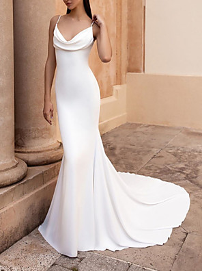 cheap Wedding Dresses-Mermaid / Trumpet Wedding Dresses Spaghetti Strap Sweep / Brush Train Stretch Satin Sleeveless Simple Backless with Ruched 2020