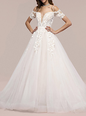 cheap Evening Dresses-A-Line Wedding Dresses V Neck Sweep / Brush Train Lace Short Sleeve Formal with Appliques 2020